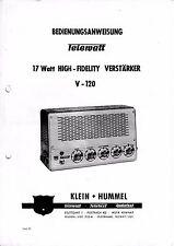 Istruzione funzionamento con schema-istruzioni per piccoli Hummel telewatt v-120