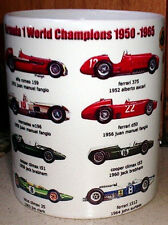 Formula 1 champion cars  F1 from 1950 to 1965 Ferrari,mercedes ~ Tribute MUG