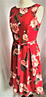 Womens Floral Sleeveless Skater Summer Dress Belted Red NEW Sizes 10-12-14-16-18