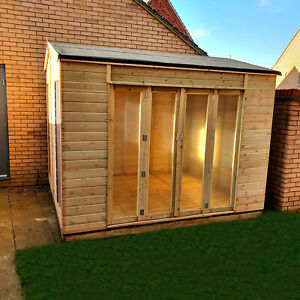 10x8 Pressure Treated Apex Summerhouse with Long Side Window Double French Door