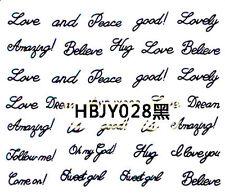 Black Classic Love Peace Writing Hug Omg 3D Nail Art Sticker Decals Decoration