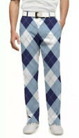 Loudmouth Golf Pants 35 x 32 Blue Argyle Plaid Preppy Men's