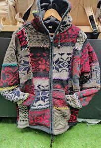 Multipatch stitched Handmade Fleeced Winter unisex thick woolen aztec Jacket