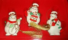 Lenox Snowman w/Musical instruments Christmas Ornaments Set of 3 in Tin 2003