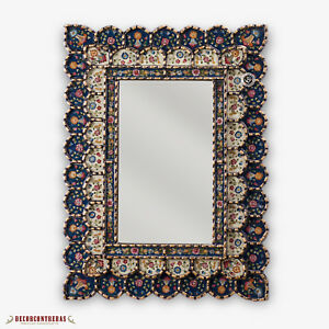 "Decorative Cuzcaja Wall Mirror ""Blue Blossom""- Peruvian Wall Accent Mirror"