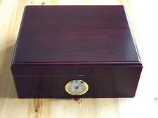 Cherry Finish Wood 50 Cigar Desktop Humidor - External Hygrometer