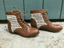 Charlotte Russe Sz 10 Womens Brown Leather and White Lace Ankle Boots Good Shape