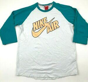 Nike Shirt Size Medium M White Teal Tee Raglan 3/4 Sleeve Adult Orange Swoosh
