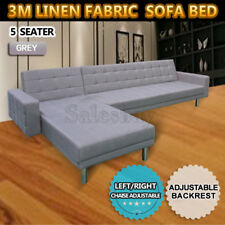 3M Linen Fabric 5 Seater Sofa Bed Modular Recliner Corner Futon Lounge Couch