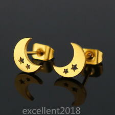 Women Gold Plated Stainless Steel Hollow Star On Moon Fashion Ear Stud Earrings