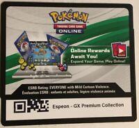 Pokemon TCGO Espeon GX SM35 Premium Collection Box Code Card PTCGO *EMAILED*