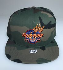 Supreme USA Camo Woodland 5-Panel Hat Fire Camouflage Flames SnapBack Cap 35b69c9641cf