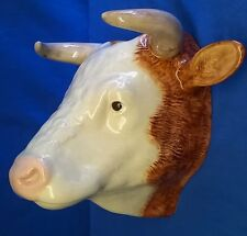 QUAIL BRITISH HEREFORD BULL CATTLE WALL POCKET OR VASE FARM ANIMAL FIGURE MODEL