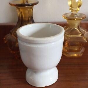 Petit Pot à Onguent Pharmacie en Faïence Blanche Style Creil