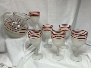 Vintage 1940's Frosted Glass Red & Gold Striped Pitcher Set w/ 6 Stemmed Glasses