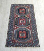 Vintage Anatolian Oriental Blue Rug 2x4 Turkish Art Deco Wool Handmade Kilim Rug