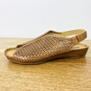 Pikolinos Womens Womens Leather Sandal Flats Brown Slingback Size 40