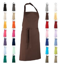 GREEN RED GREY BLUE PINK YELLOW BROWN DENIM Polyester Cotton Chefs Bib Apron