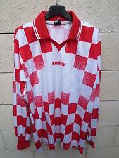 Maillot football DIADORA rouge blanc damier maglia calcio shirt XL