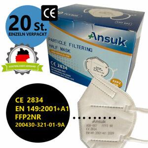 20 x FFP2 Maske Mundschutz Atemschutz Gesichtsschutz CE zertifiziert 5-lagig