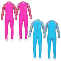 Kid Girls Long Sleeve Swimsuit Shirt Pants Set Swim Rash Guard Fitness Sunsuit
