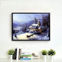 DIY 5D Diamant Broderie Peinture Noël Père Wapitis Cross Stitch Home Mural Decor
