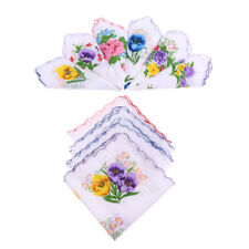 Fazzoletti in cotone da donna 10 pezzi assortiti con bordo ondulato e stampa