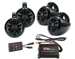 Noam Nutv4 Quad - Marine Bluetooth Atv / Rzr / Utv Speakers Stereo System