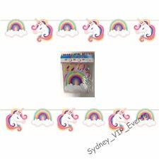 Birthday Party Unicorn Bunting Rainbow Flags 1.9m 6pk Hanging Banner Decoration