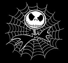 """JACK SKELLINGTON with SPIDER WEB 5""""x 5"""" CAR DECAL STICKER (comes in a pair)"""