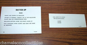 BATTER UP (EM) By GOTTLIEB 1970 ORIGINAL PINBALL MACHINE INSTRUCTION SCORE CARDS