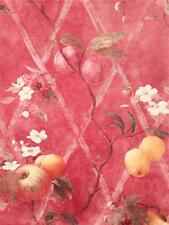 Wallpaper Designer Fruit on Red Faux Harlequin Trellis Apple Plums Berries Peach