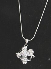 MOUSE Necklace silver tone Clear crystal Rhinestones Lobster clasp Sparkle 16 in
