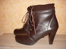 Schnür Stiefelette / Ankle Boot NEU in der Gr. 42 dunkelbraun & Nappa Leder