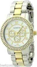Chronograph Over Size,Crystals Watch-New Geneva Silver,Gold 2,Two Tone Metal