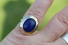 Vintage! 10k Yellow Gold Lapis Lazuli Solitaire Gemstone Estate Ring Sz. 5.75