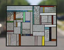 "Contemporary Stained Glass Window Panel, Hanging 21 1/2"" x 17 1/2"""