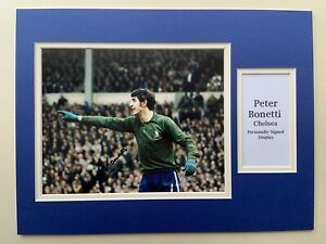 """Chelsea Peter Bonetti Signed 16"""" X 12"""" Double Mounted Display"""