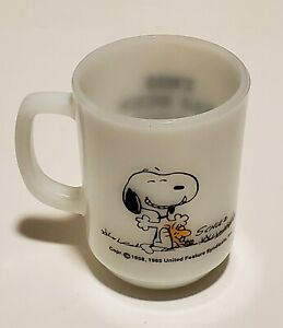 Fire King Snoopy Mug This Has Been A Good Day Woodstock Schulz 1965 Glass VTG