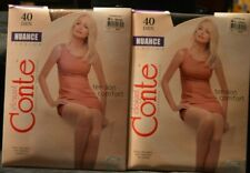 2 Pair Elegant Conte Pantyhose Nuance Tight Top Size 4 Large Off Black Bronze WW