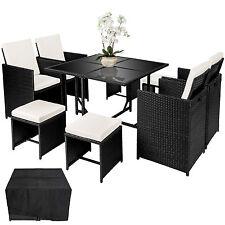 Ensemble Salon de jardin  poly rotin 4 chaises résine tressée table set noir