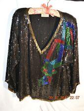 Jeffrey Lawrence Sequin 100% Silk Top V neck Black Base Deco Colored Design