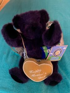 """VERMONT TEDDY BEAR HAPPY MOTHER'S DAY 12"""" PURPLE PLUSH BEAR COLLECTIBLE RARE NWT"""