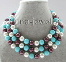 """N5018-50"""" 12mm white + blue + wine red south sea shell pearl necklace- GP clasp"""