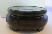 Chinese Wood Display Stand   9cm diameter / 3cm High   Hand Carved Decoration