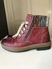 RIEKER Red Ladies Women Designer Flat Ankle Shoe Lace Up Boot Size 3 36