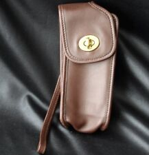 COACH Brown Leather Cell Phone Holder Wristlet Bag