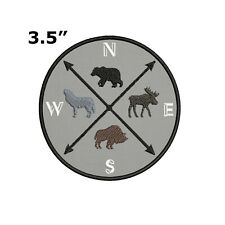 Compass with Bear Wolf Buffalo Moose Embroidered Patch Iron-On / Sew-On Applique