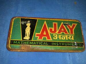 Old Vintage Tin Ajay Mathemetical Instruments set Compass Box from India 1960