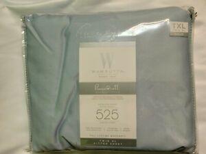 Wamsutta 525 Thread-Count Pima Cotton Sateen Weave Twin XL Flat Sheet in Blue
